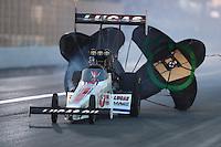 Nov 12, 2016; Pomona, CA, USA; NHRA top fuel driver Richie Crampton during qualifying for the Auto Club Finals at Auto Club Raceway at Pomona. Mandatory Credit: Mark J. Rebilas-USA TODAY Sports