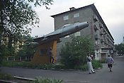 A Soviet era monument to fighter plane pilots stands in a Bishkek street, eight years after independence was declared, in 1991,  by the country from the Soviet Union. Bishkek, Kyrgyzstan.