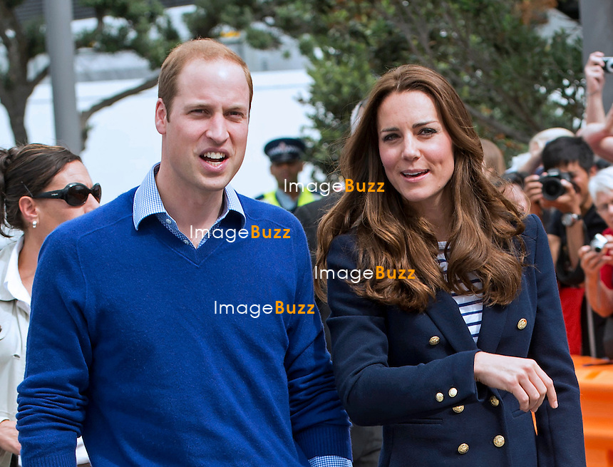 KATE, DUCHESS OF CAMBRIDGE AND PRINCE WILLIAM<br /> visit Emirates Team New Zealand, home to New Zealand's Americas Cup Team. <br /> The Duke and Duchess sailed in separate yacht around Auckland Harbour, Auckland_11/04/2014
