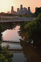 Stock photo of sunset from the Rosemont Bridge over Buffalo Bayou