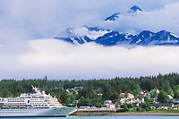 Norwegian Cruise Ship, coastal town of Haines, Alaska, at the end of the Lynn Canal, inside passage.