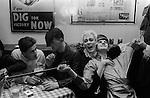 Steve Strange lying back with Stephen Linard  at the Blitz Club Covent Garden London 1980.<br /> <br /> ? and ? Stephen Linard (bleach quiff centre laughing ) Steve Strange