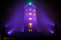 Enger Tower: Duluth's Purple Tribute to Prince<br /> The City of Duluth lit Enger Tower in purple to recognize the passing of musical icon, Prince. The thick fog complemented the mood as hundreds gathered at Enger Tower to remember the remarkably talented and influential Minnesotan.