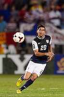 United States \midfielder Alejandro Bedoya (20). The United States defeated Costa Rica 1-0 during a CONCACAF Gold Cup group B match at Rentschler Field in East Hartford, CT, on July 16, 2013.