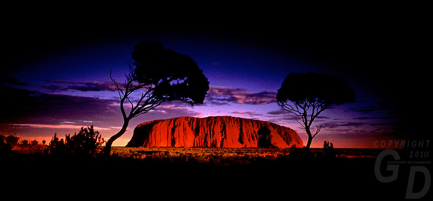 Images from the Book Journey Through Colour and Time,Ayers Rock at Sunset, Uluru national park, Australia