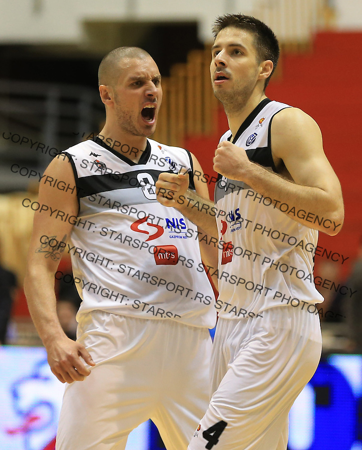 Kosarka play off final game 3<br /> Partizan v Crvena Zvezda<br /> Aleksandar Pavlovic (L) and Milenko Tepic celebrate<br /> Belgrade, 06.16.2014.<br /> foto: Srdjan Stevanovic/Starsportphoto &copy;