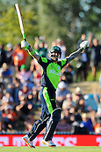 16.02.2015. Nelson, New Zealand.  Ireland player John Mooney celebrates Ireland winning their 2015 ICC Cricket World Cup match between West Indies and Ireland. Saxton Oval, Nelson, New Zealand.