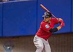 2 April 2016: Boston Red Sox infielder Travis Shaw at bat during a pre-season exhibition game against the Toronto Blue Jays at Olympic Stadium in Montreal, Quebec, Canada. The Red Sox defeated the Blue Jays 7-4 in the second of two MLB weekend games, which saw a two-game series attendance of 106,102 at the former home on the Montreal Expos. Mandatory Credit: Ed Wolfstein Photo *** RAW (NEF) Image File Available ***