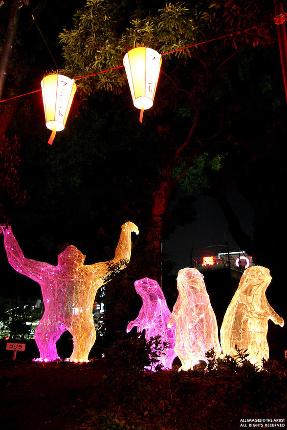 Ueno Park Illuminations - fanciful lights in Ueno Park lit up at night and resembling Godzilla, penguins, bears and whatever else the imagination can dredge up.