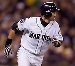 Seattle Mariners Ichiro Suzuki runs to first base after hitting a single to center field against the Oakland Athletics in the fourth inning at SAFECO Field. © 2012. Jim Bryant Photo. All Rights Reserved.