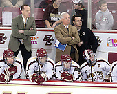 Brooks Dyroff (BC - 14), Mike Cavanaugh (BC - Associate Head Coach), Bill Arnold (BC - 24), Jerry York (BC - Head Coach), Cam Spiro (BC - 15), Tom Maguire (BC - Senior Manager), Steven Whitney (BC - 21) - The Boston College Eagles defeated the University of Vermont Catamounts 4-1 on Friday, February 1, 2013, at Kelley Rink in Conte Forum in Chestnut Hill, Massachusetts.