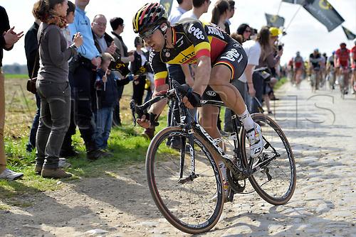 12.04.2015. Paris, France.  The Paris Roubaix cycling race, 2015.  Jens Debusschere (Team Lotto Soudal)