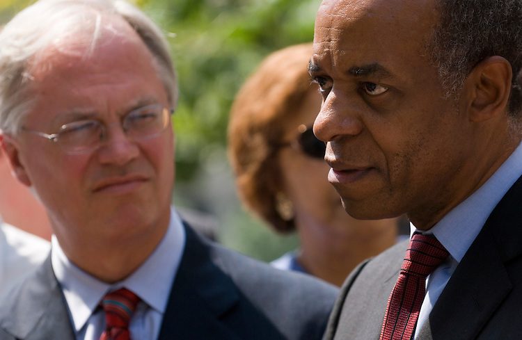 Indicted Rep. William Jefferson, D-La., speaks to the media following his arraignment in the U.S. District Court for the Eastern District of Virginia in Alexandria, Va., on Friday, June 8, 2007. Attorney Robert Trout looks on at left.