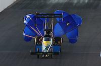 Feb. 22, 2013; Chandler, AZ, USA; NHRA top fuel dragster driver Sidnei Frigo during qualifying for the Arizona Nationals at Firebird International Raceway. Mandatory Credit: Mark J. Rebilas-