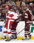 Evan Rodrigues (BU - 17), Destry Straight (BC - 17), Steven Santini (BC - 6) - The Boston College Eagles defeated the Boston University Terriers 3-1 (EN) in their opening round game of the 2014 Beanpot on Monday, February 3, 2014, at TD Garden in Boston, Massachusetts.