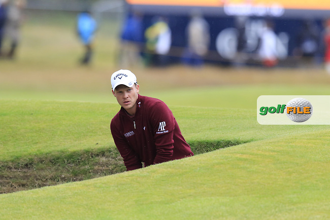 Danny WILLETT (ENG) chips from a bunker at the 16th green during Monday's Final Round of the 144th Open Championship, St Andrews Old Course, St Andrews, Fife, Scotland. 20/07/2015.<br /> Picture Eoin Clarke, www.golffile.ie