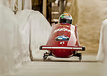 8 January 2016: Simone Bertazzo, piloting his 2-man bobsled for Italy, enters the Chicane straightaway on his second run, ending the day with a combined 2-run time of 1:52.41 and earning a 17th place finish at the BMW IBSF World Cup Championships at the Olympic Sports Track in Lake Placid, New York, USA. Mandatory Credit: Ed Wolfstein Photo *** RAW (NEF) Image File Available ***