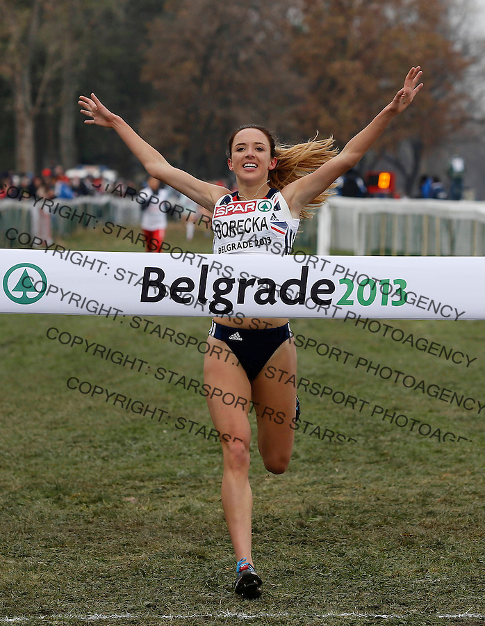 BELGRADE, SERBIA - DECEMBER 08: Great Britain's Emelia Gorecka crosses the finish line to win the Junior Women's race during the 20th SPAR European Cross Country Championships on December 8, 2012 in Belgrade, Serbia. (Photo by Srdjan Stevanovic/Getty Images)