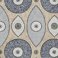 Amulet, a hand cut natural stone mosaic, is shown  in Blue Bahia, Nero Marquina, Thassos, Chartreuse, Montevideo, Travertine White, Blue Macauba, Celeste (hand chopped tumbled).