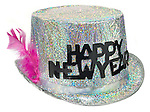new years glitter party hat with pink feather