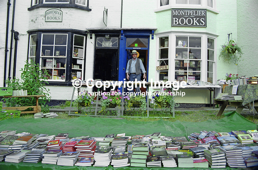 Everywhere you look in Hay-on-Wye, Wales, UK, there are books literally spilling unto the streets. 200005241.<br /> <br /> Copyright Image from Victor Patterson,<br /> 54 Dorchester Park, Belfast, UK, BT9 6RJ<br /> <br /> t1: +44 28 90661296<br /> t2: +44 28 90022446<br /> m: +44 7802 353836<br /> <br /> e1: victorpatterson@me.com<br /> e2: victorpatterson@gmail.com<br /> <br /> For my Terms and Conditions of Use go to<br /> www.victorpatterson.com