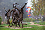"Chris Johanson's ""I Do Not Know But Am Open to Learning"" can be found at Village Park in Los Altos, CA.  The 20-foot tall inflatable question mark can be spotted behind the ""Olympic Wannabees"" sculpture."