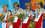 women canadian team, freestyle relay,4x100m they won the silver.<br /> Stephanie Dixon, Andrea Cole, Danielle Campo, Anne Polinario<br /> (Benoit Pelosse photographe)