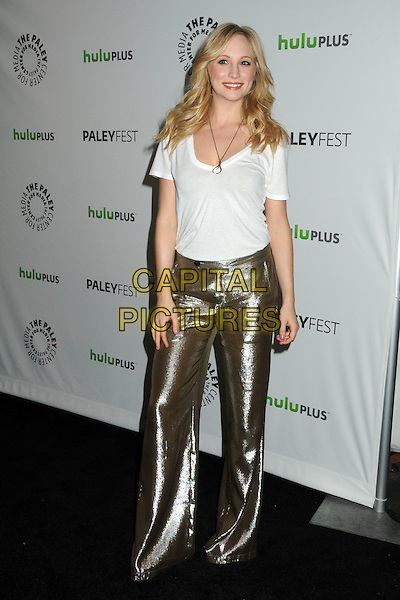 "Candice Accola.PaleyFest 2012 Presents ""The Vampire Diaries"" held at the Saban Theatre. Beverly Hills, California, USA, .10th March 2012.full length white t-shirt  gold necklace metallic wide leg trousers .CAP/ADM/BP.©Byron Purvis/AdMedia/Capital Pictures."