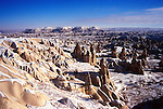 Rock formations and former habitats  in the Goreme National Park area of Cappadocia, Turkey