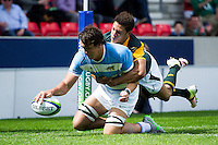 Mariano Romanini of Argentina U20 dives for the try-line. World Rugby U20 Championship 3th Place Play-Off between Argentina U20 and South Africa U20 on June 25, 2016 at the AJ Bell Stadium in Manchester, England. Photo by: Patrick Khachfe / Onside Images