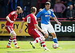 Aberdeen v St Johnstone...28.06.15  Glebe Park, Brechin..Pre-Season Friendly<br /> John Sutton is closed down by Mark Reynolds and Nial McGinn<br /> Picture by Graeme Hart.<br /> Copyright Perthshire Picture Agency<br /> Tel: 01738 623350  Mobile: 07990 594431