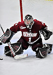 22 November 2011: University of Massachusetts Minutemen goaltender Jeff Teglia, a Sophomore from Bloomingdale, IL, in third period action against the University of Vermont Catamounts at Gutterson Fieldhouse in Burlington, Vermont. The Catamounts defeated the Minutemen 2-1 in their annual pre-Thanksgiving meeting of the Hockey East season. Mandatory Credit: Ed Wolfstein Photo