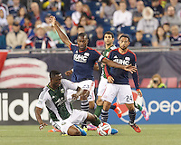 Foxborough, Massachusetts - August 16, 2014:  In a Major League Soccer (MLS) match, the New England Revolution (blue/white) tied Portland Timbers (green/white), 1-1,  at Gillette Stadium.