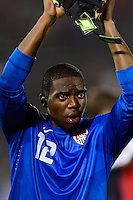United States goalkeeper Sean Johnson (12) salutes the fans after the game. The United States defeated Costa Rica 1-0 during a CONCACAF Gold Cup group B match at Rentschler Field in East Hartford, CT, on July 16, 2013.