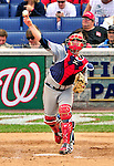 26 September 2010: Atlanta Braves catcher  Brian McCann in action against the Washington Nationals at Nationals Park in Washington, DC. The Nationals defeated the pennant-seeking Braves 4-2 to take the rubber match of their 3-game series. Mandatory Credit: Ed Wolfstein Photo