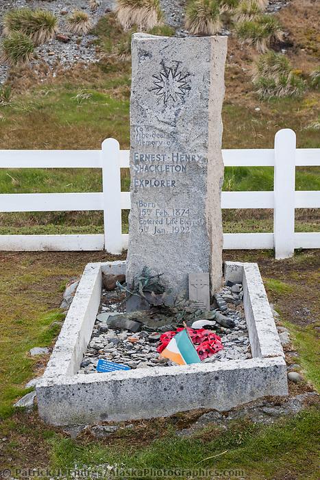 Ernest Shackleton's grave site at Grytviken, South Georgia Island.