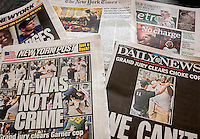 Front pages of New York newspapers on Thursday, December 4, 2014 report on the previous days Grand Jury not indicting NYPD Officer Daniel Pantaleo in the death of Eric Garner and the subsequent protests.    (© Richard B. Levine)