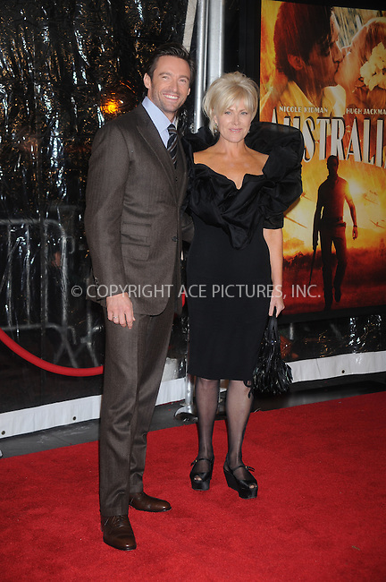 WWW.ACEPIXS.COM . . . . .....November 24, 2008. New York City.....Hugh Jackman and Deborra-Lee Furness attends the 'Australia' Premiere held at the Ziegfeld Theater on November 24, 2008 in New York City...  ....Please byline: Kristin Callahan - ACEPIXS.COM..... *** ***..Ace Pictures, Inc:  ..Philip Vaughan (646) 769 0430..e-mail: info@acepixs.com..web: http://www.acepixs.com