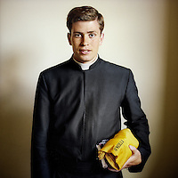 A portrait of 21 year old priest Jesus David Tress. He was born in Mexico and entered the Legionaries of Christ seminar in Salamanca when he was 13 years old. The Legion of Christ is a conservative Roman Catholic congregation whose members take vows of chastity, obedience and poverty.