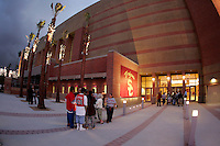 13 October 2006:  Exterior over view of the Galen Center. USC Trojans Women's Volleyball team plays their second home game in a new facility across the street from their school. The Galen Center is the new home for USC Volleyball, Basketball, Concerts and Special Events.<br />