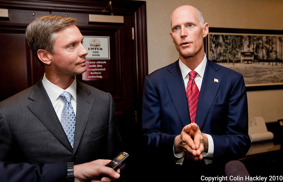 TALLAHASSEE, FLA. 11/9/10-SCOTT-CANNON 110910 CH-House Speaker designate Dean Cannon, R-Winter Park, left, and Governor-elect Rick Scott talk about their meeting Tuesday at the Capitol in Tallahassee...COLIN HACKLEY PHOTO