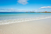 Scenic white sand beach, Gimsøya, Lofoten islands, Norway