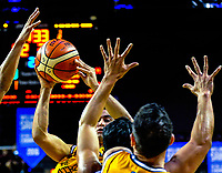 Action from the national basketball league match between Wellington Saints and Taranaki Mountainairs at TSB Bank Arena in Wellington, New Zealand on Friday, 12 May 2017. Photo: Dave Lintott / lintottphoto.co.nz