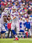 19 October 2014: Buffalo Bills quarterback Kyle Orton hands off to running back Anthony Dixon in the second quarter against the Minnesota Vikings at Ralph Wilson Stadium in Orchard Park, NY. The Bills defeated the Vikings 17-16 in a dramatic, last minute, comeback touchdown drive. Mandatory Credit: Ed Wolfstein Photo *** RAW (NEF) Image File Available ***