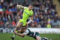 Sam James of Sale Sharks looks to get past Sam Harrison of Leicester Tigers. Aviva Premiership match, between Leicester Tigers and Sale Sharks on February 6, 2016 at Welford Road in Leicester, England. Photo by: Patrick Khachfe / JMP