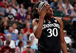 01 APRIL 2012:  Nnemkadi Ogwumike (30) of Stanford University reacts to the Cardinals loss to Baylor University during the Division I Women's Final Four semifinals at the Pepsi Center in Denver, CO.  Baylor defeated Stanford 59-47 to advance to the championship final.  Jamie Schwaberow/NCAA Photos
