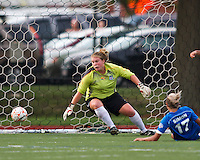 Boston Breakers forward Kyah Simon (17) scores a goal past Chicago Red Stars goalkeeper Jamie Forbes (1).  The Boston Breakers beat the Chicago Red Stars 1-0 at Dilboy Stadium.