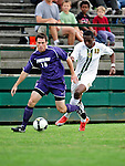 11 September 2009: University of Portland Pilots' midfielder/defenseman Greg Rouse, a Senior from Denver, CO, keeps possession against University of Vermont Catamounts' midfielder Jordan Smith, a Freshman from Atlanta, GA in the first round of the 2009 Morgan Stanley Smith Barney Soccer Classic held at Centennial Field in Burlington, Vermont. The Catamounts and Pilots battled to a 1-1 double-overtime tie. Mandatory Photo Credit: Ed Wolfstein Photo
