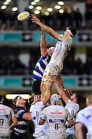 Jonny Hill of Exeter Chiefs competes for the ball at a lineout. Aviva Premiership match, between Bath Rugby and Exeter Chiefs on December 31, 2016 at the Recreation Ground in Bath, England. Photo by: Patrick Khachfe / Onside Images
