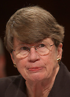 Washington, D.C. - April 13, 2004 -- Former Attorney General Janet Reno testifies before the National Commission on Terrorist Attacks Upon the United States (the 9-11 Commission) in Washington, DC on April 13, 2004.<br />